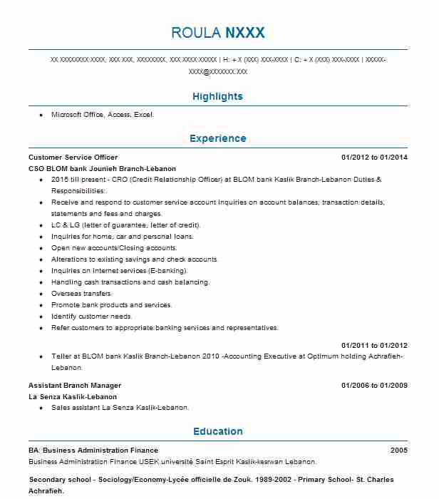 Customer Service Officer Resume Sample Retail Resumes LiveCareer