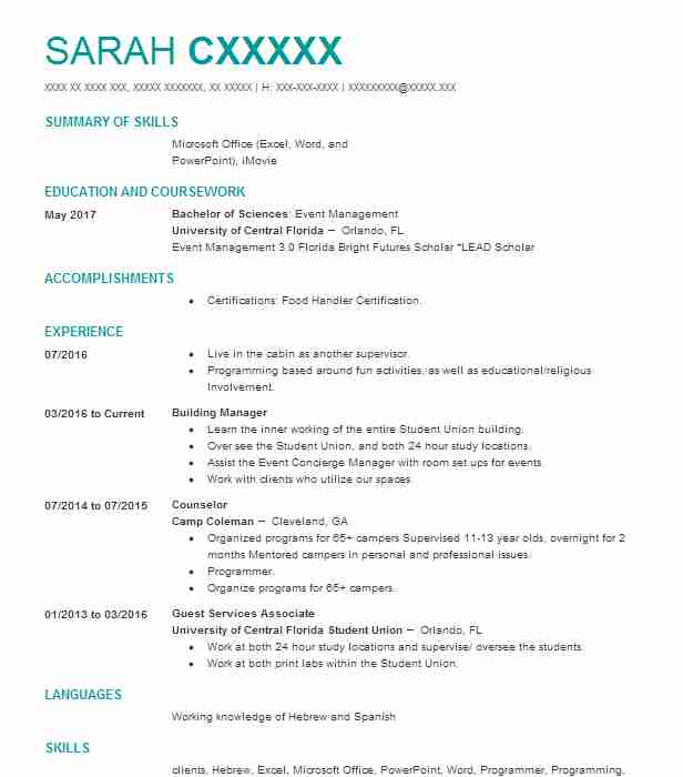 Building Manager Resume Sample Resumes Misc LiveCareer