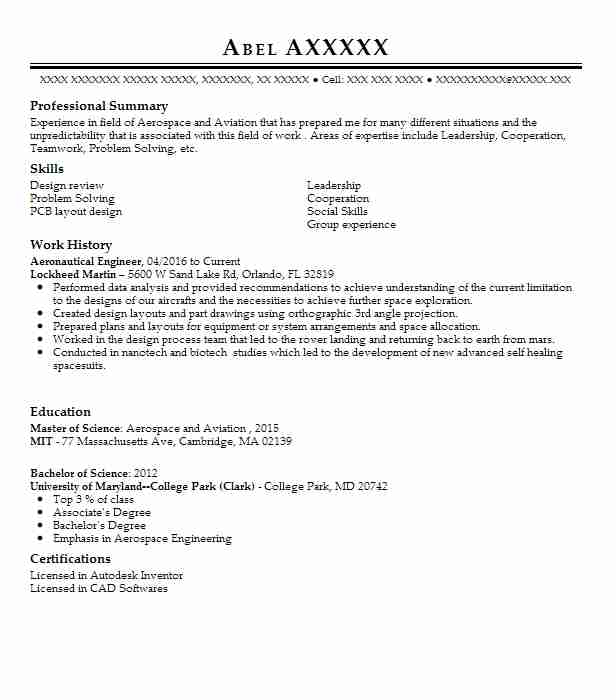 Aeronautical Engineer Resume Sample Engineering Resumes LiveCareer