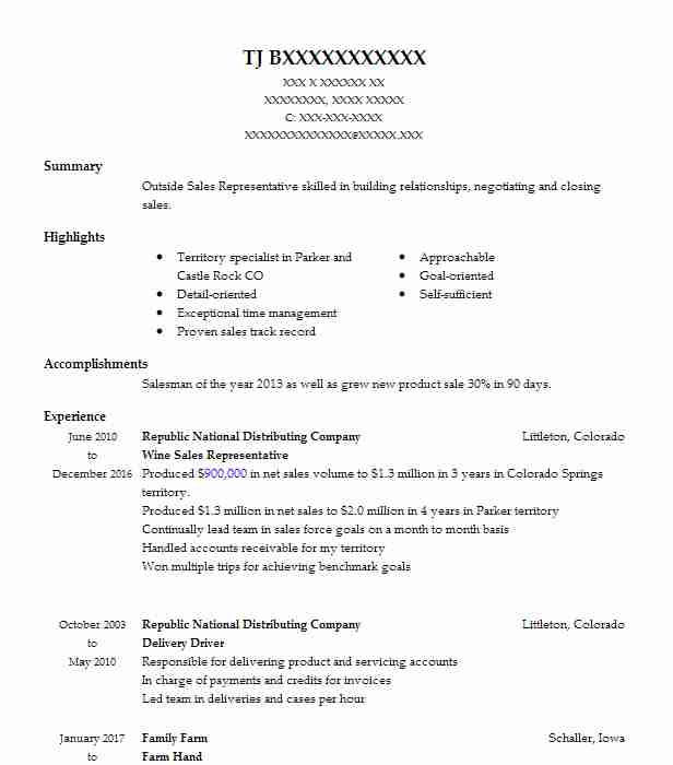 Wine Sales Representative Resume Sample LiveCareer