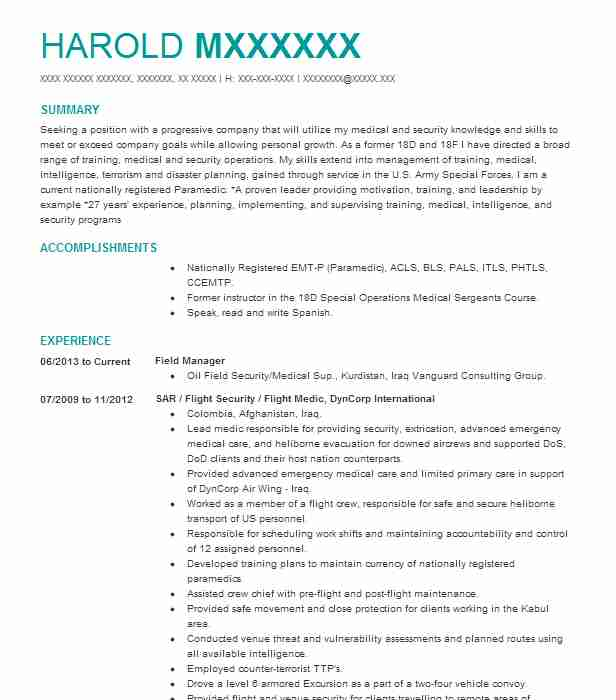 Field Manager Resume Example (SAR / Flight Security / Flight Medic - dyncorp security officer sample resume