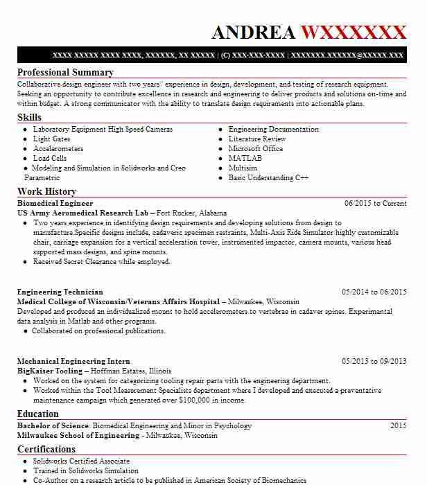 Biomedical Engineer Resume Sample Engineering Resumes LiveCareer