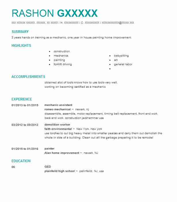 Mechanic Assistant Resume Sample Assistant Resumes LiveCareer