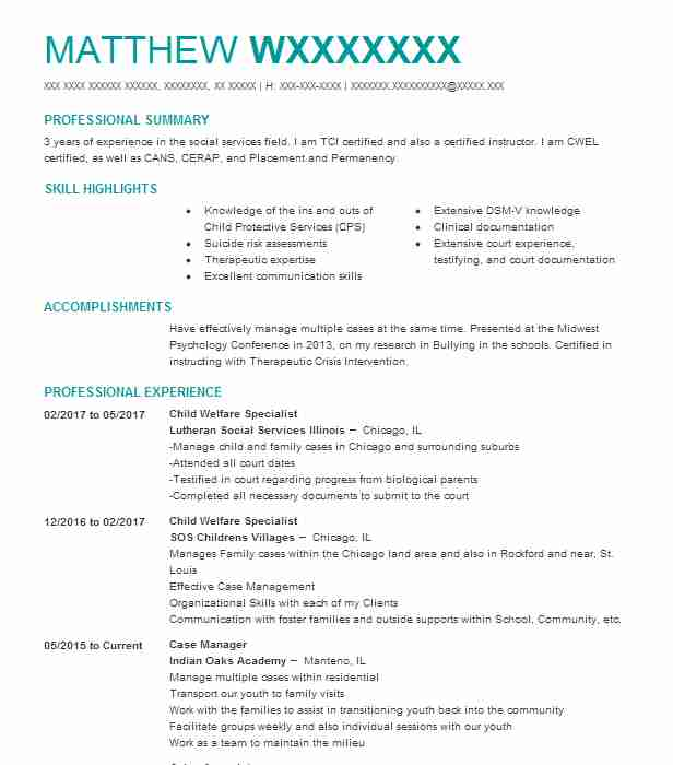 Child Welfare Specialist Resume Sample LiveCareer - foster care case manager sample resume