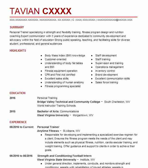 Personal Trainer Resume Example (Anytime Fitness) - Charleston, West