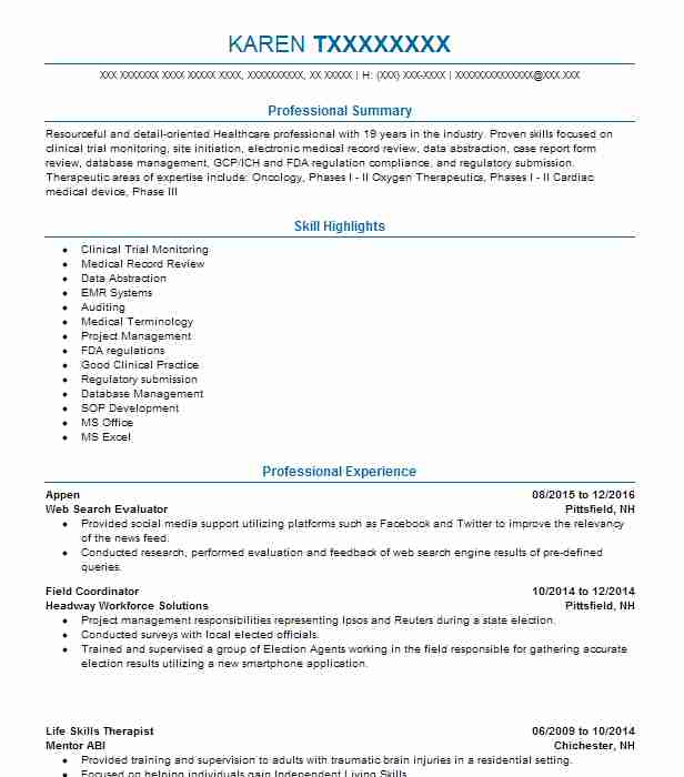 Appen Resume Example (Web Search Evaluator) - Pittsfield, New Hampshire