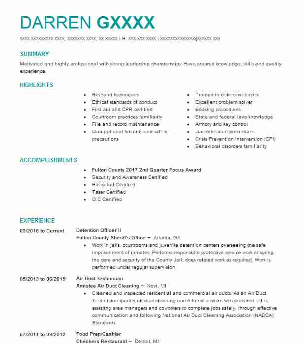 34460 Correctional Officers Resume Examples Law Enforcement And - cook county correctional officer sample resume