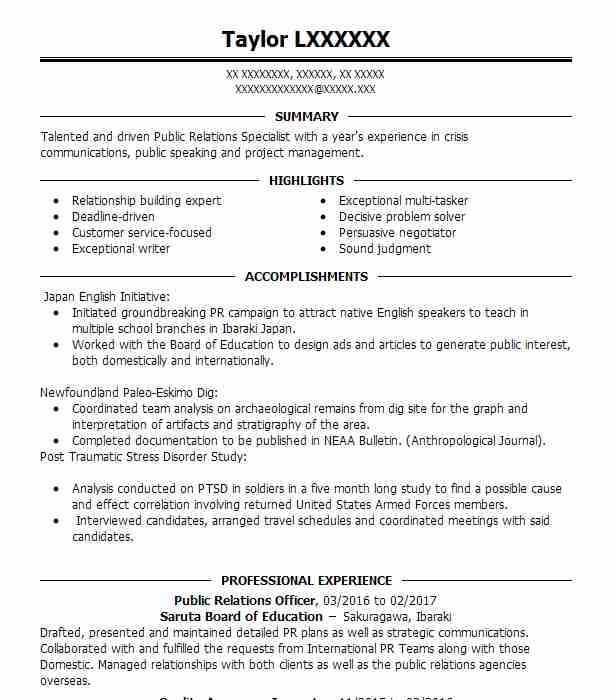 Public Relations Officer Resume Sample Officer Resumes LiveCareer