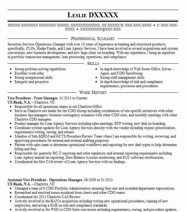 Vice President Trust Manager Resume Example (US Bank, NA - cdo analyst sample resume