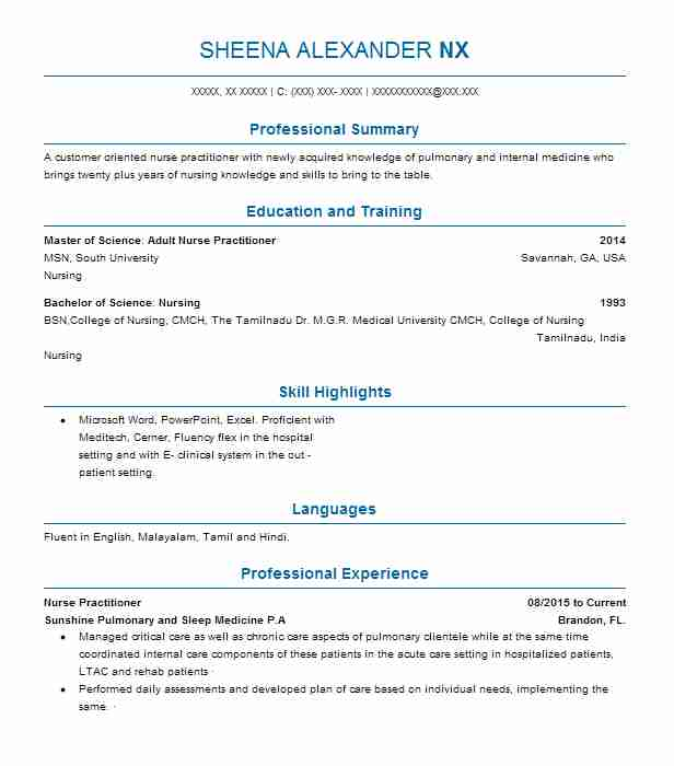 Nurse Practitioner Resume Example (Sunshine Pulmonary And Sleep - bariatric nurse practitioner sample resume
