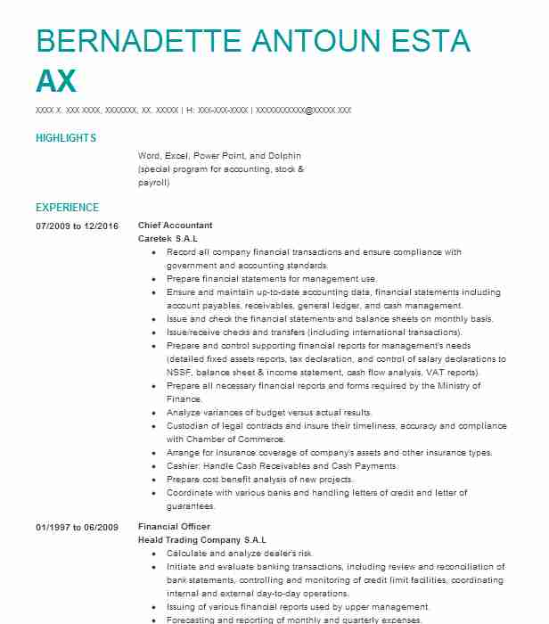 Chief Accountant Resume Sample Accountant Resumes LiveCareer