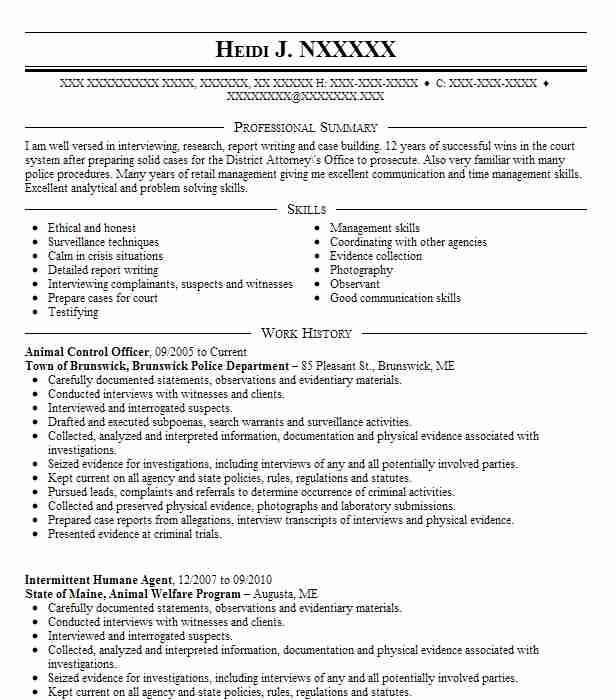 25 Detectives And Criminal Investigators Resume Examples in Maine - animal welfare officer sample resume