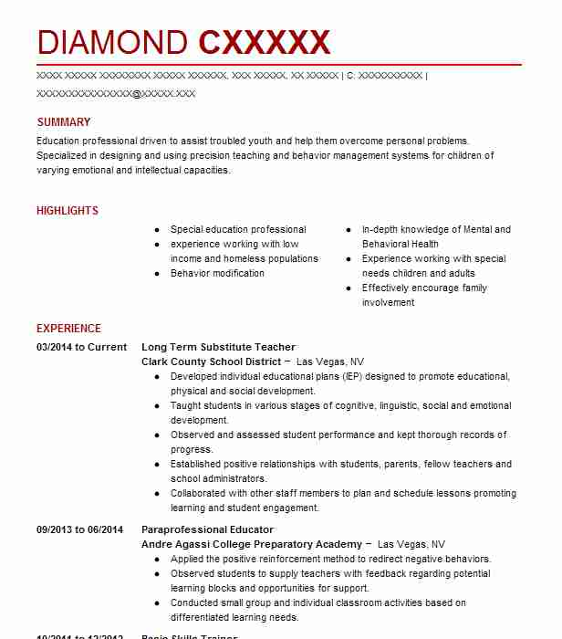 Long Term Substitute Teacher Resume Sample LiveCareer