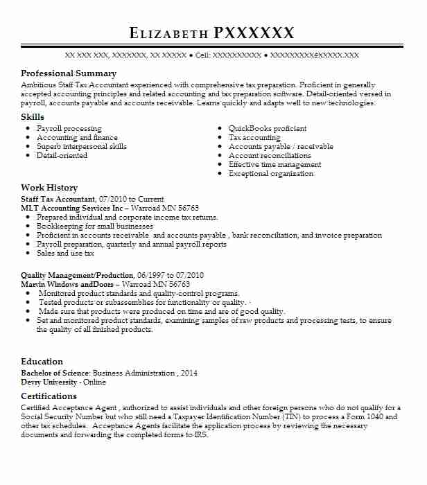 Staff Tax Accountant Resume Sample Accountant Resumes LiveCareer