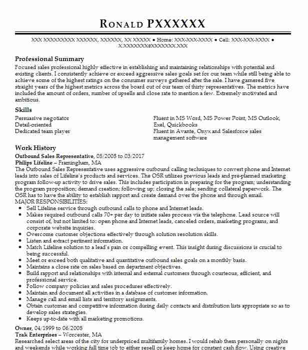 Outbound Sales Representative Resume Sample LiveCareer