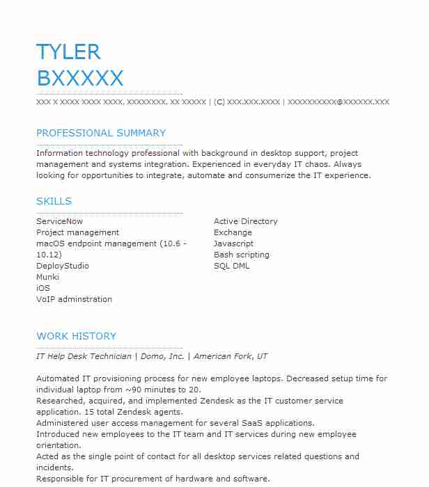 It Help Desk Technician Resume Sample LiveCareer