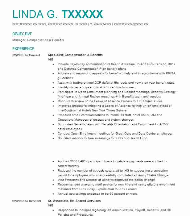 Compensation And Benefits Manager Resume Sample LiveCareer - benefits manager resume