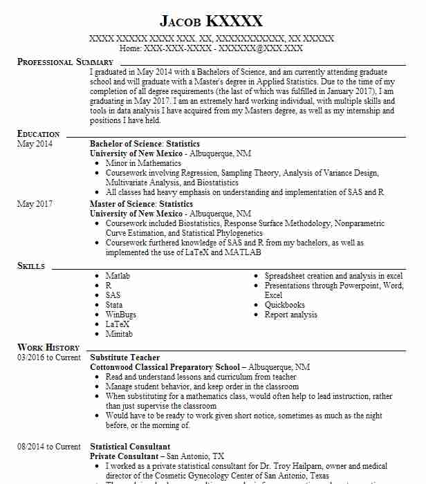 Statistical Consultant Sample Resume ophion
