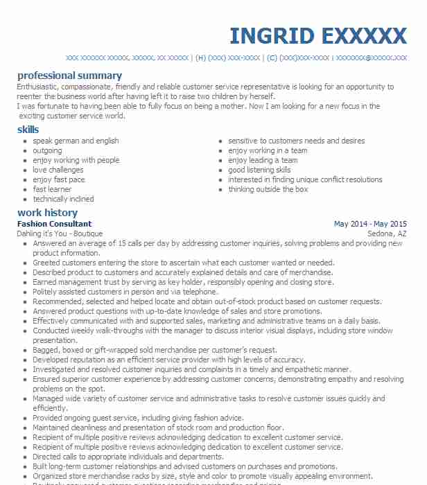 Fashion Consultant Resume Sample Resumes Misc LiveCareer