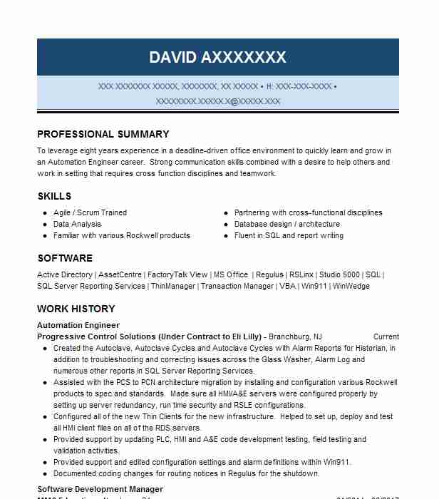 Automation Engineer Resume Sample Engineering Resumes LiveCareer