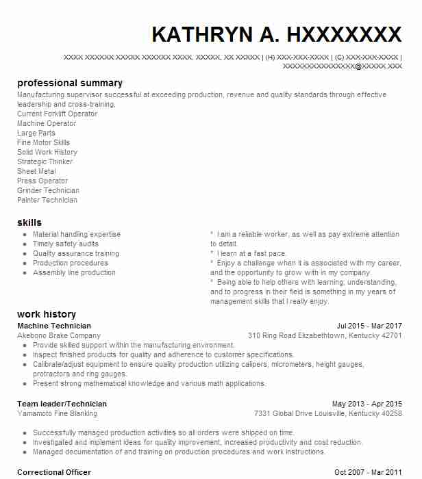 Machine Technician Resume Sample Technician Resumes LiveCareer - Fixed Base Operator Sample Resume