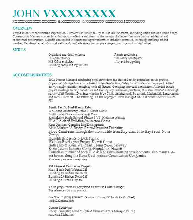 206 Construction Management Resume Examples in Hawaii LiveCareer