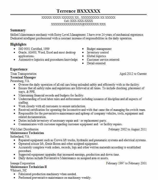 Best Industrial Maintenance Mechanic Resume Example LiveCareer - maintenance mechanic resume