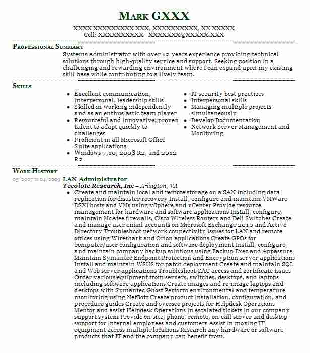 46 Computer And Office Machines Resume Examples in Virginia LiveCareer - lan administrator resume