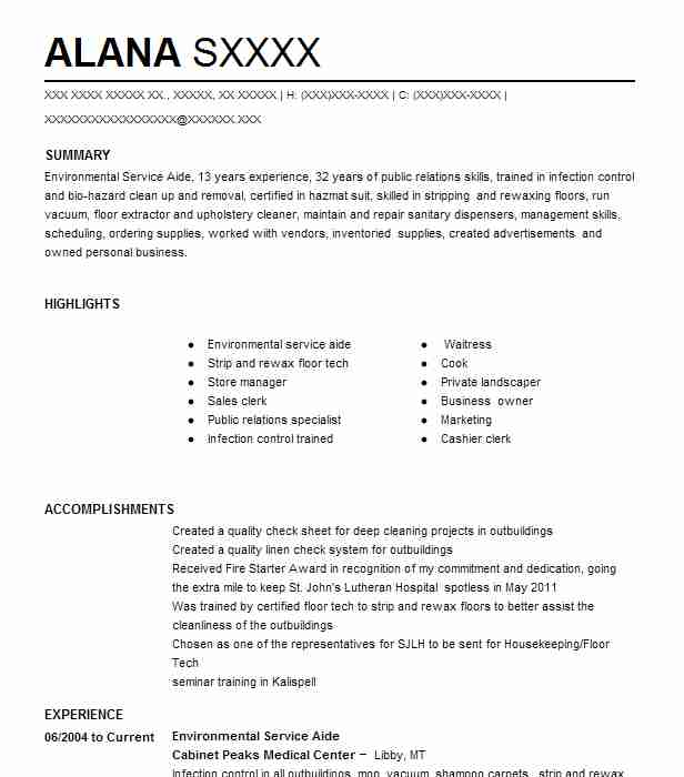 Environmental Service Aide Objectives Resume Objective LiveCareer - environmental service aide sample resume
