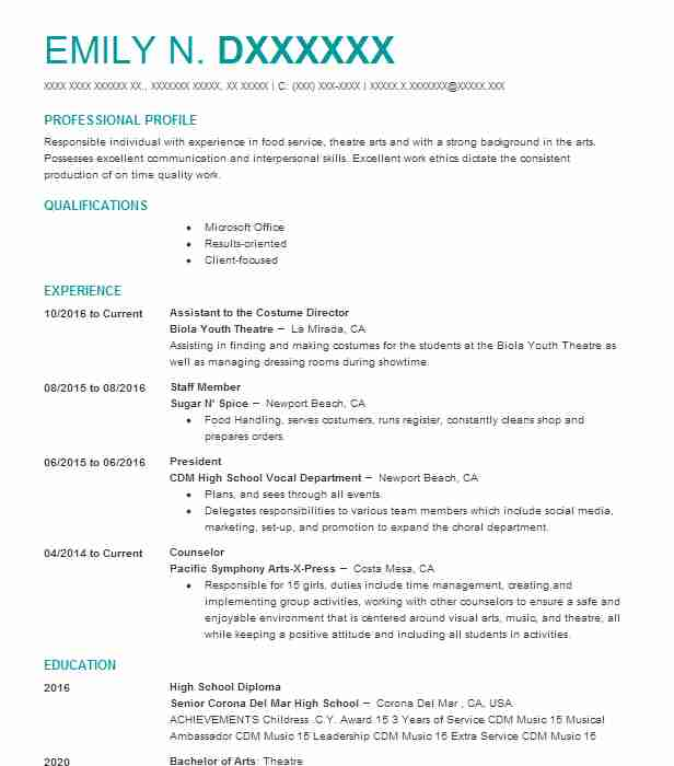 298 Costume Design Resume Examples Performing Arts Resumes