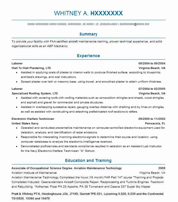 560 Aircraft (Installation And Maintenance) Resume Examples in - turbine engine mechanic sample resume