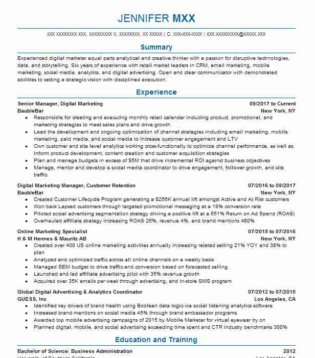 11772 Online Marketing And Social Media Resume Examples Marketing