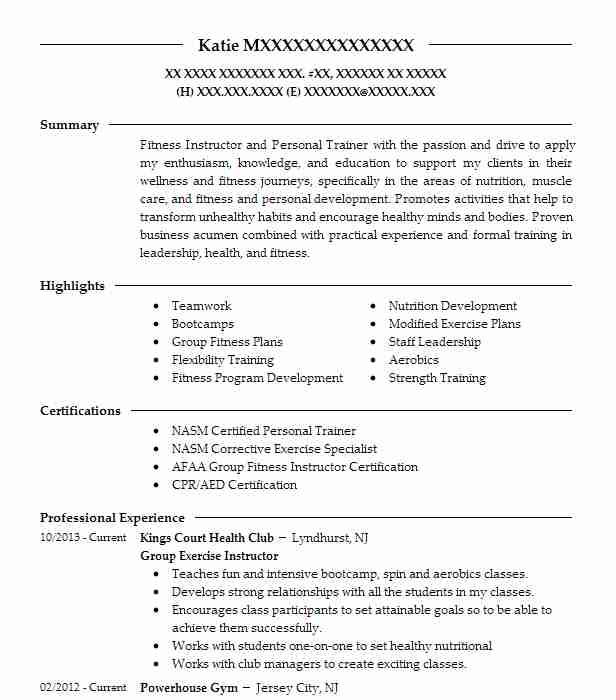 Exercise Physiologist Resume Sample Instructor Resumes LiveCareer