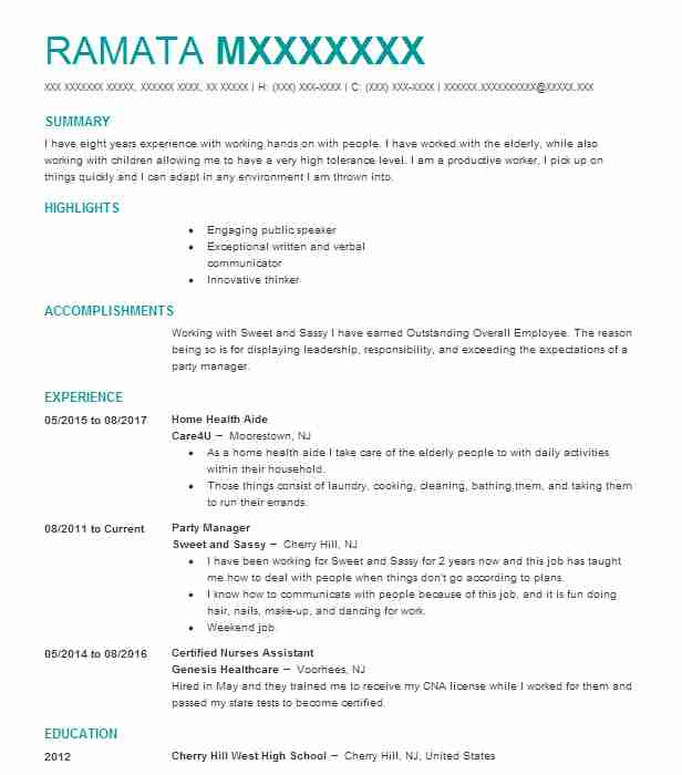 home health aide resume objective samples