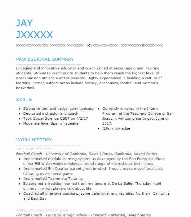 Football Coach Resume Sample Resumes Misc LiveCareer