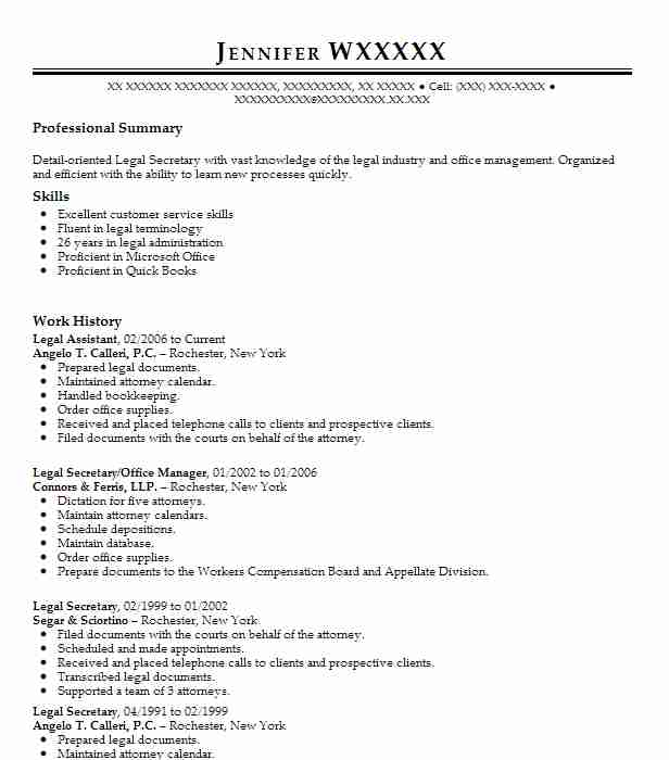 Legal Assistant Resume Example (Angelo T Calleri, PC) - Henrietta