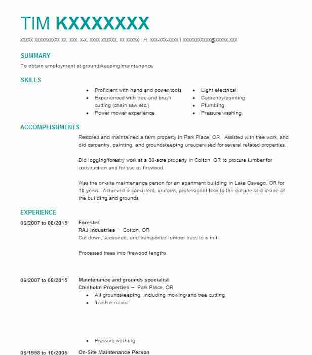 2850 Forestry Resume Examples Natural Resources And Agriculture - forest worker sample resume