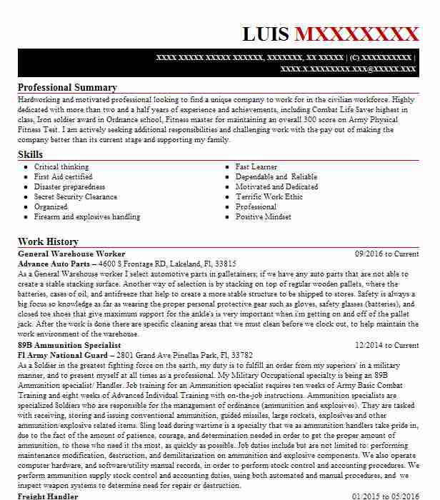 General Warehouse Worker Resume Sample Worker Resumes LiveCareer