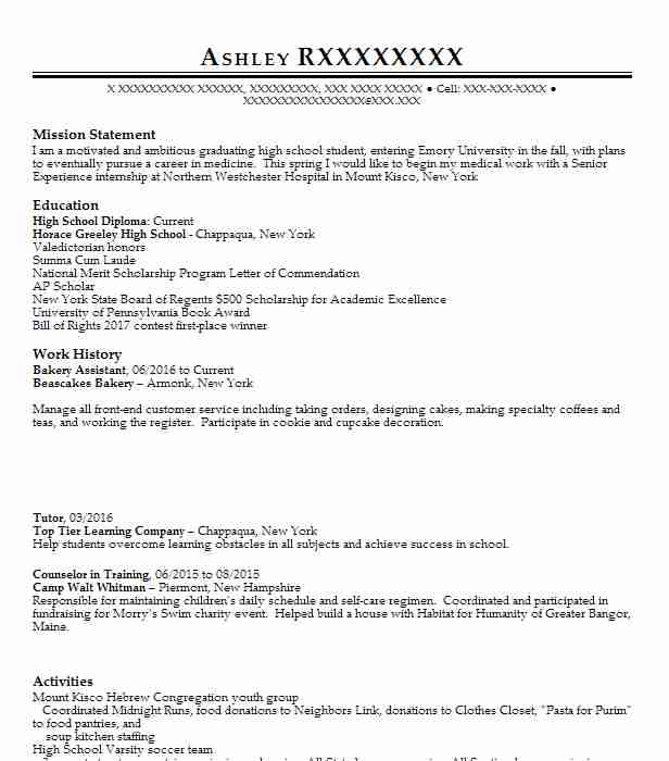 Bakery Assistant Resume Sample Assistant Resumes LiveCareer