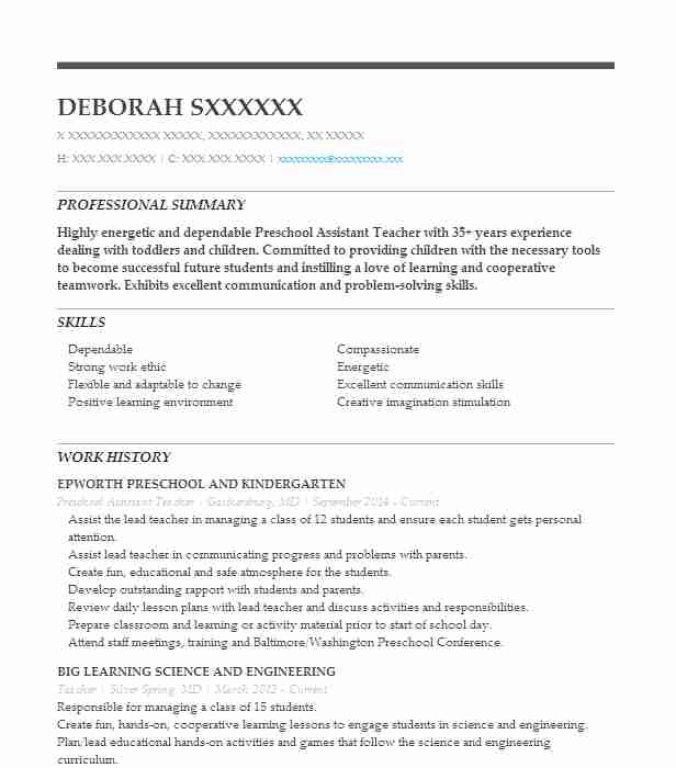 Preschool Assistant Teacher Resume Sample LiveCareer