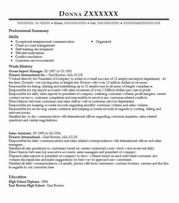 example resume in german operations manager