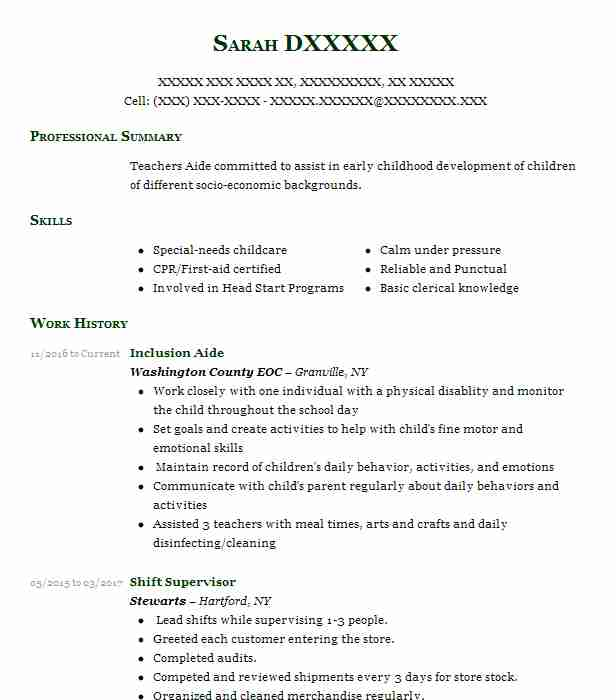 Find Resume Examples in Granville, NY LiveCareer - Inclusion Aide Sample Resume