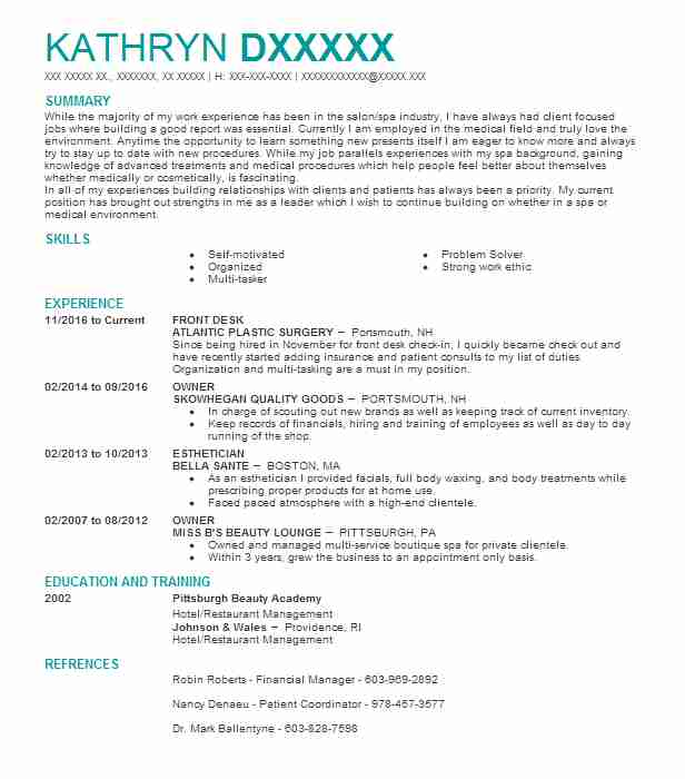 resume summary examples for estheticians