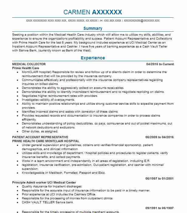Medical Collector Resume Sample Collector Resumes LiveCareer