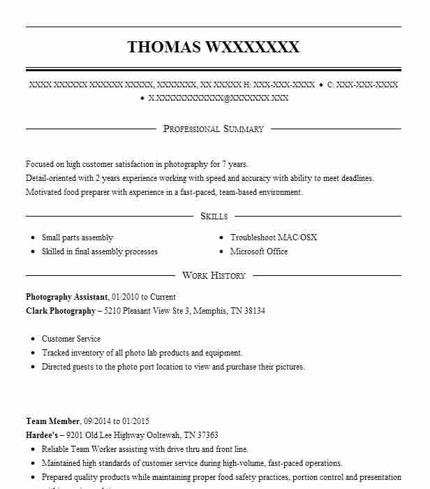 Photography Assistant Resume Sample Assistant Resumes LiveCareer