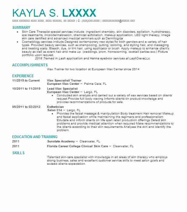 1981 Estheticians Resume Examples in Florida LiveCareer