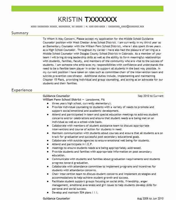 Guidance Counselor Resume Sample Teacher Resumes LiveCareer