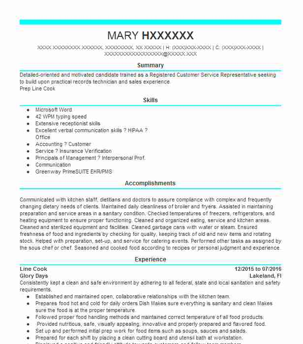 Line Cook Resume Objectives Resume Sample LiveCareer - resume for cooks