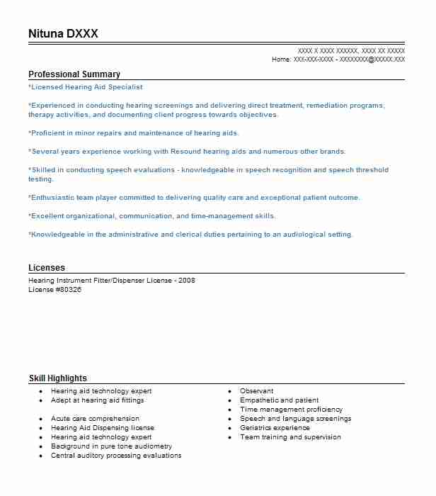 Hearing Instrument Specialist Sample Resume Best solutions Of New
