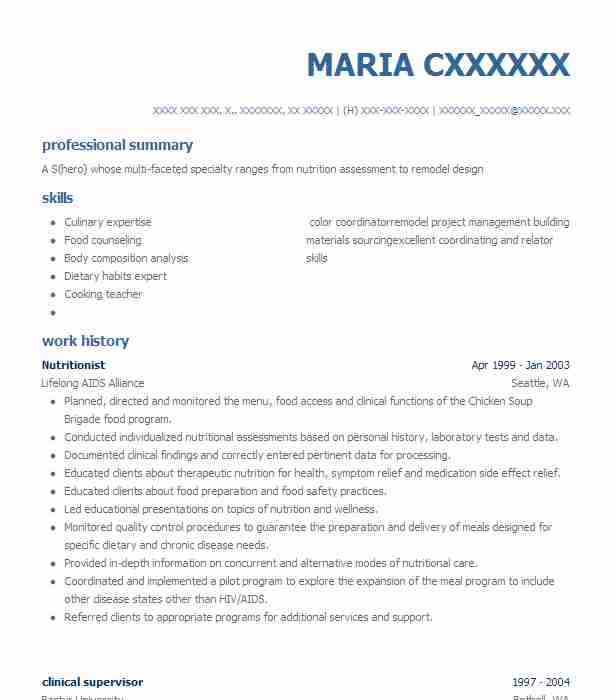 Best Nutritionist Resume Example LiveCareer